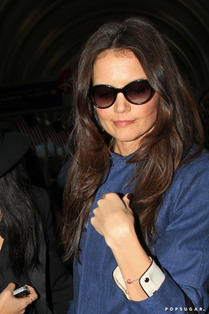 Kate Holmes wore shades at LAX on Wednesday.