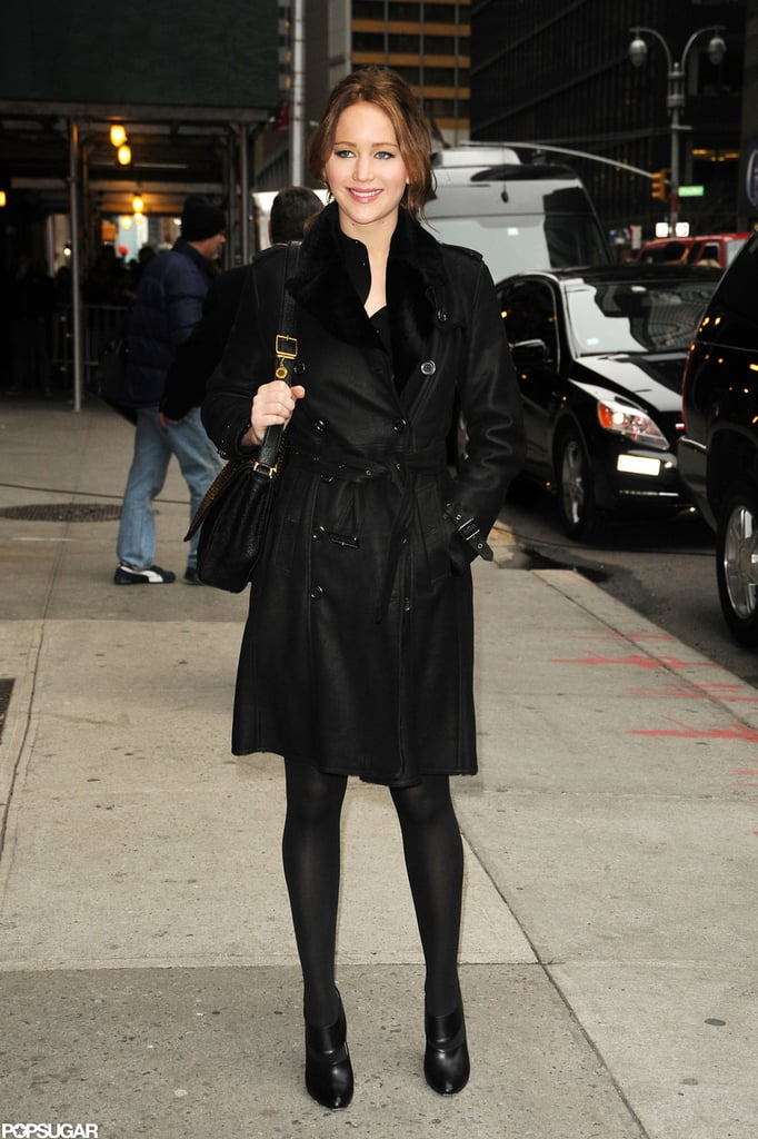 Jennifer Lawrence wore a black coat and black booties in NYC.