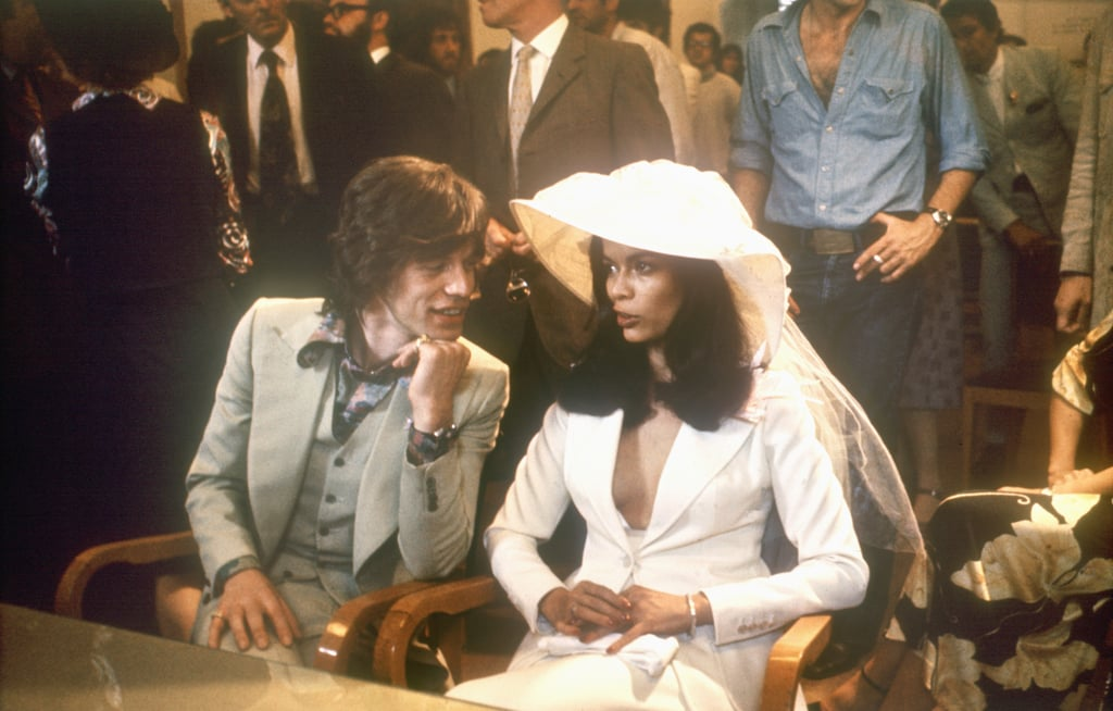 We admire that Bianca Jagger strayed from the norm and wore a white suit and a matching hat for her May 1971 wedding to Mick in St. Tropez.