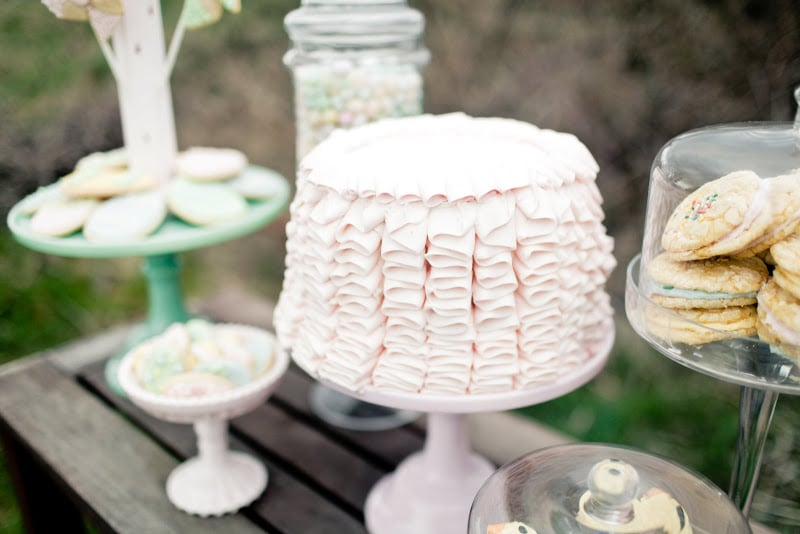 Gorgeous ribbons of frosting on the cake added Easter-inspired charm to the dessert display. Source: Kaylee Eylander Photography via Jenny Cookies