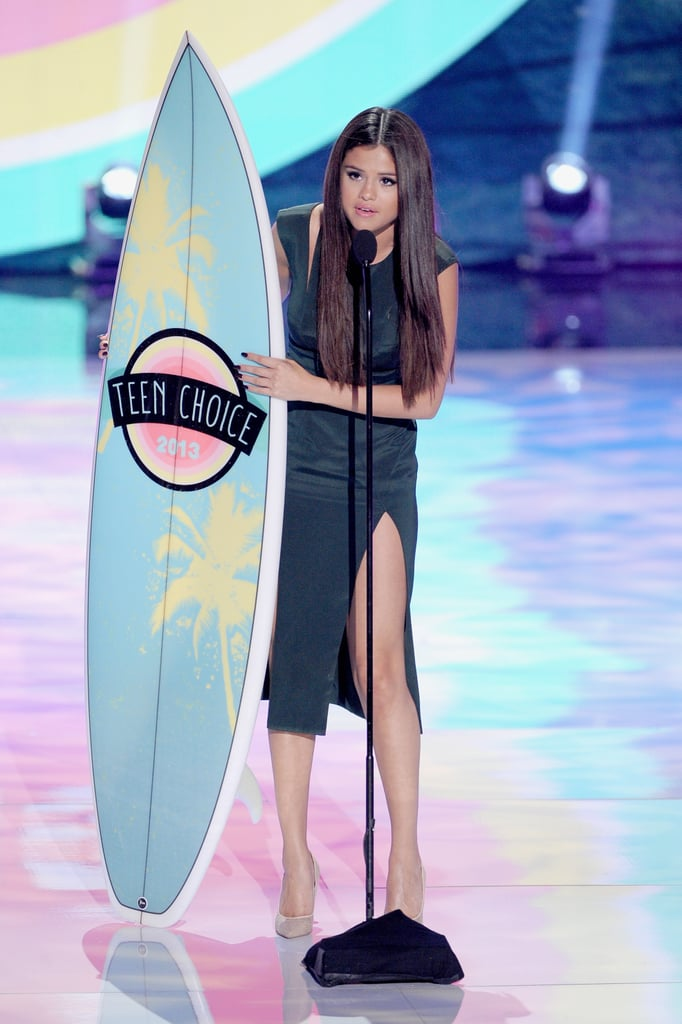 """Selena Gomez accepted the award for choice breakup song for """"Come & Get It"""" at the Teen Choice Awards."""