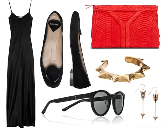 """Yael is all about pieces that can multi-task. """"Every girl needs a good ballet flat and a good men's style loafer. This is both!"""" Yael says of the Rochas flats ($280) at left. """"A long slip-dress( $270) is seasonless and can go from casual to dressed-up by a simple shoe change.""""  Other pieces on her must-have list? An Yves Saint-Laurent snakeskin clutch, $2,200; a gold sun cuff by Pamela Love, $425; arrow earrings by Bing Bang, $111; and a pair of round-frame sunglasses from The Row, $440."""