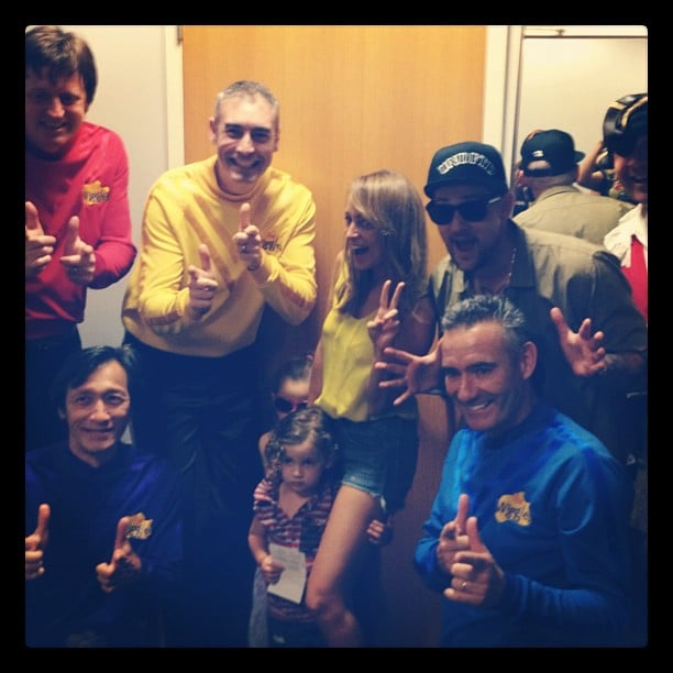 Nicole Richie, Joel Madden and their kids, Harlow and Sparrow, met The Wiggles. Source: Instagram user joelmadden