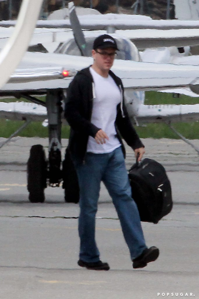 Matt Damon also got on the private plane with George Clooney.