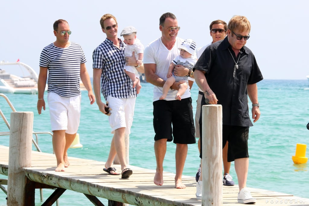 Neil Patrick Harris and David Burtka brought their twins to France in August 2011 to meet up with Elton John's family.
