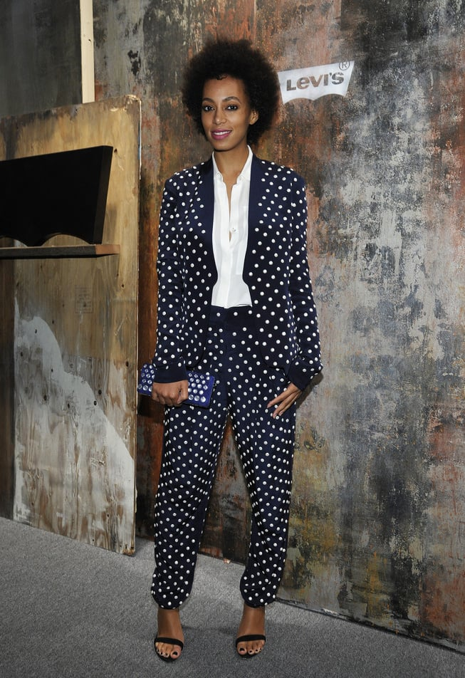Solange doubled up on dots working a black-and-white polka-dot suit with ankle-strap sandals while rocking out to Frank Ocean at the Levi's 501 pre-Grammy party in LA. Source: Flickr User paulandwilliams