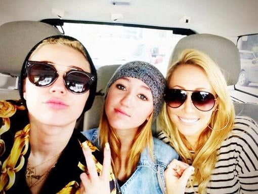 "Miley Cyrus shared a snap with ""baddest bitches in the world"" — her mom, Tish, and her little sister, Noah. Source: Twitter user MileyCyrus"