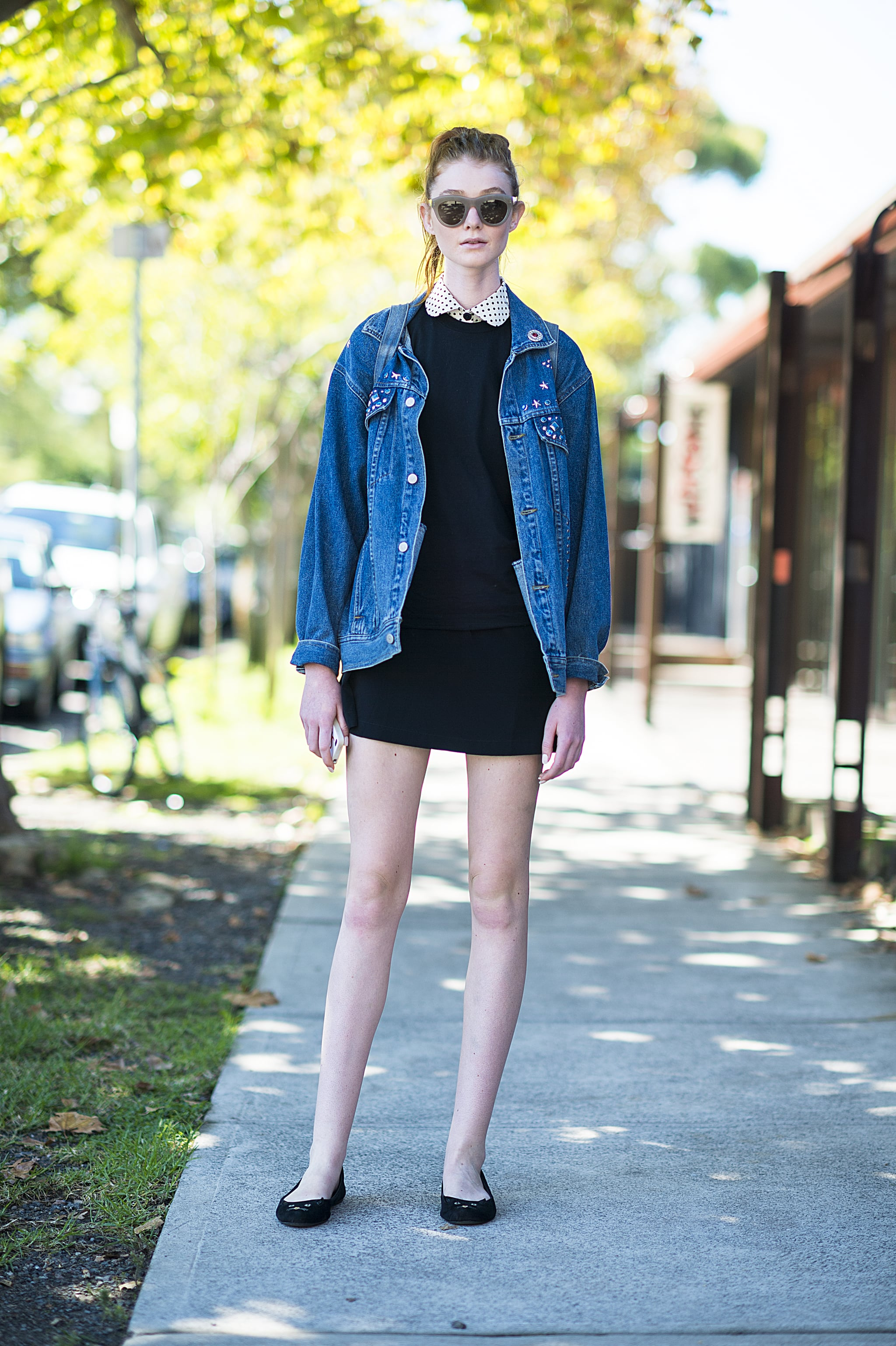 Warm up your sweet day dress with a staple jean jacket for a killer contrast. Source: Le 21ème | Adam Katz Sinding