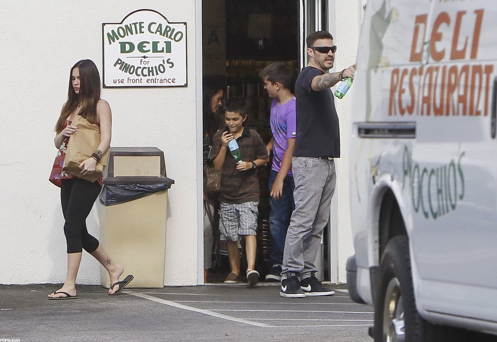 Megan Fox led the way out of the deli followed by Brian Austin Green and his son, Kassius.