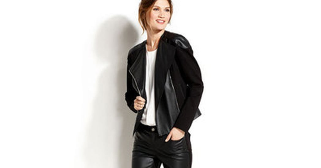 Vince Camuto Perforated Faux-Leather Moto Jacket