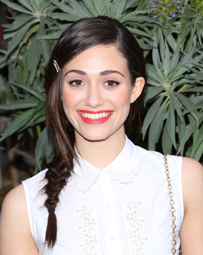 Add something extra to your side braid with colorful bobby pins, like Emmy Rossum did at a recent fundraiser.