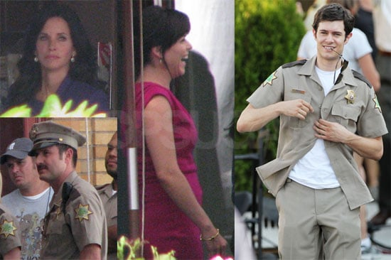 Pictures of Adam Brody, Courteney Cox, Neve Campbell and David Arquette on the Set of Scream 4