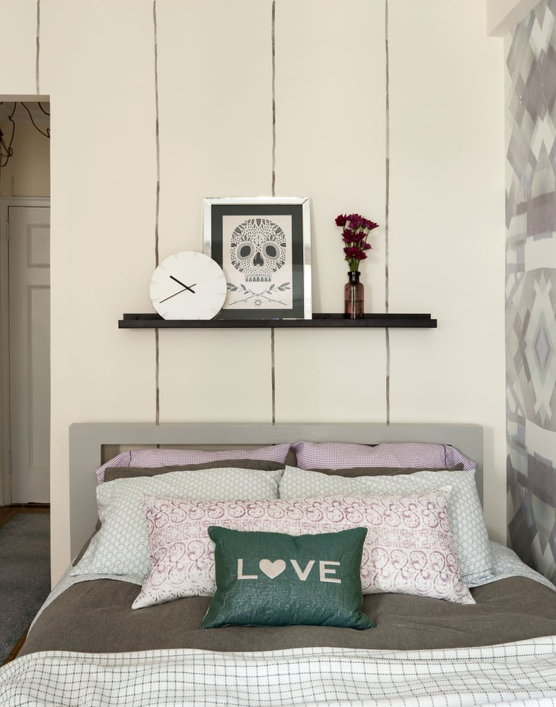 LS: In this apartment, we opted to place the bed in the corner and mount a shelf on the wall rather than a bedside table. This allowed for a larger living and entertaining space. If you make the bed the priority, the apartment ends up feeling like a bedroom rather than a real place where you can hang out with friends and entertain. Photo by  Matthew Williams via LABLstudio