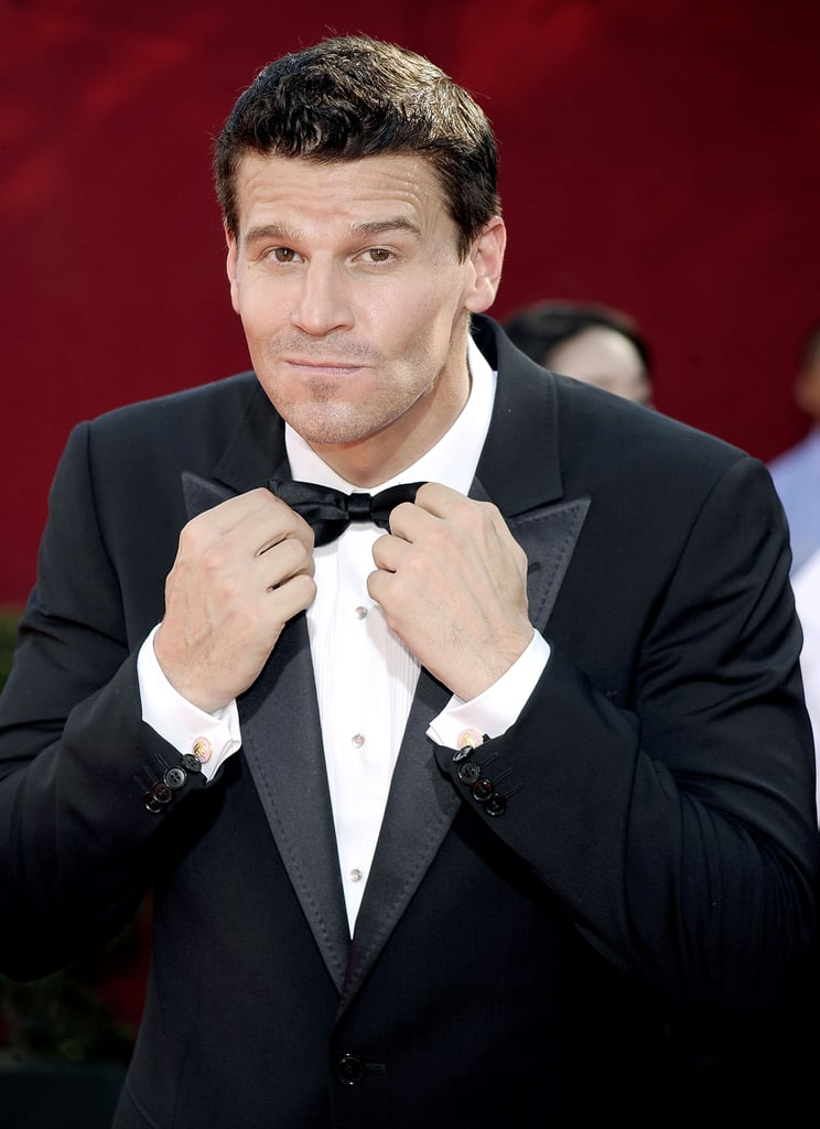 David Boreanaz perfected his bow tie before heading inside LA's Nokia Theatre in 2009.