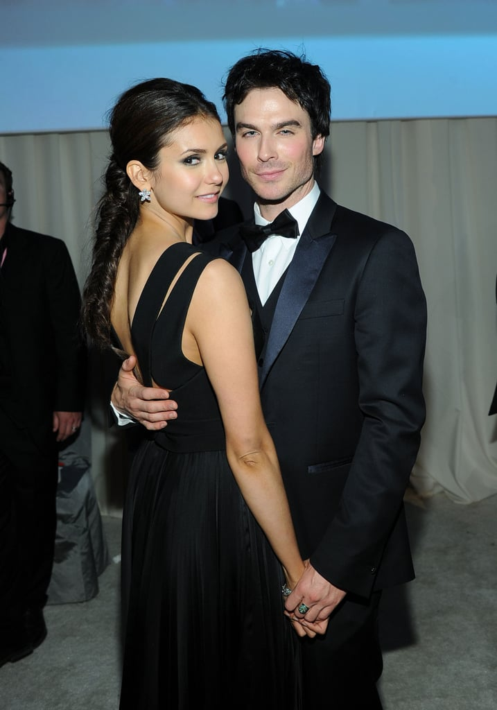 Nina Dobrev and Ian Somerhalder wore black tie for an Oscars viewing party in LA in February 2012.