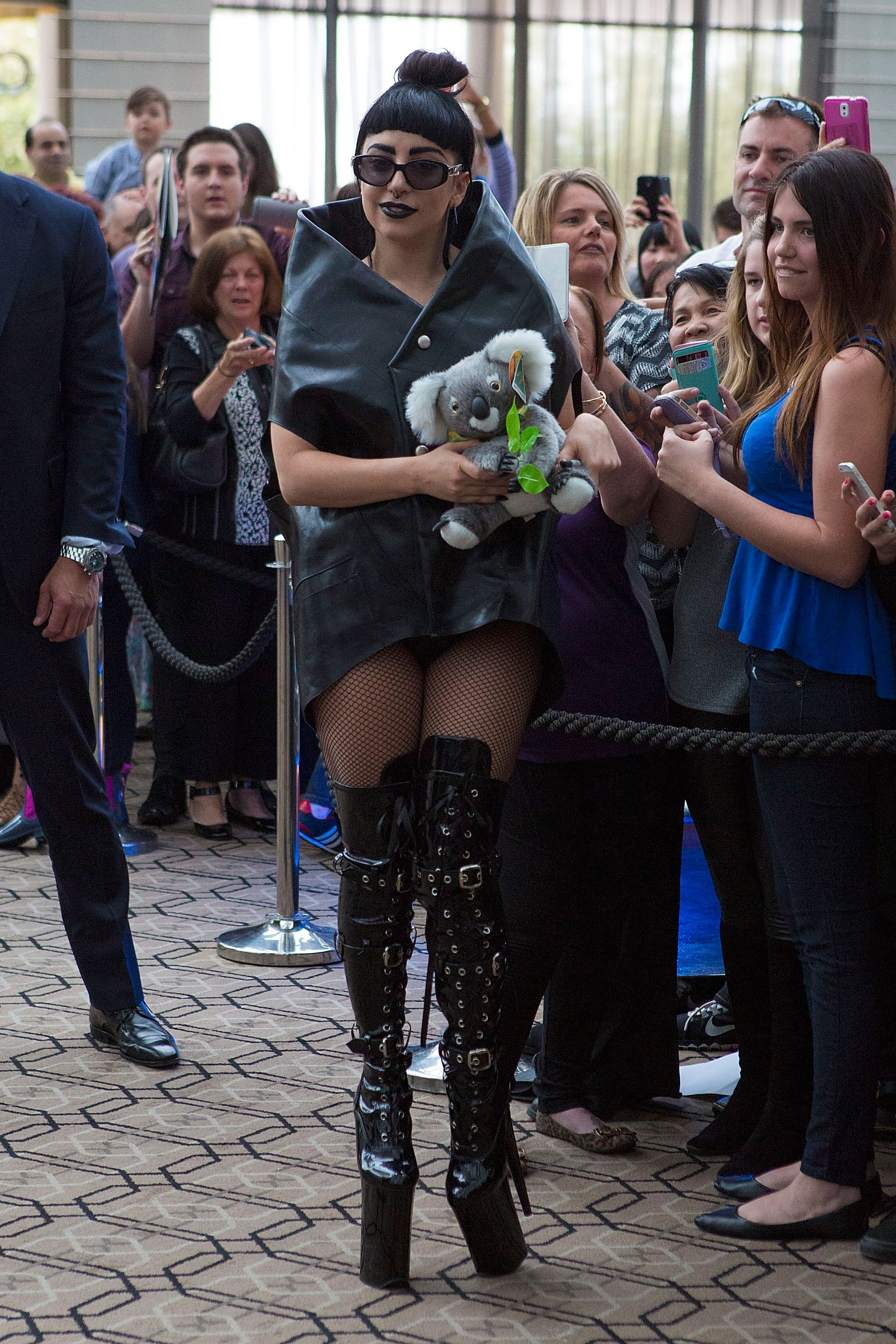 Lady Gaga received a stuffed panda toy from a fan   in Perth, Australia, on Sunday.