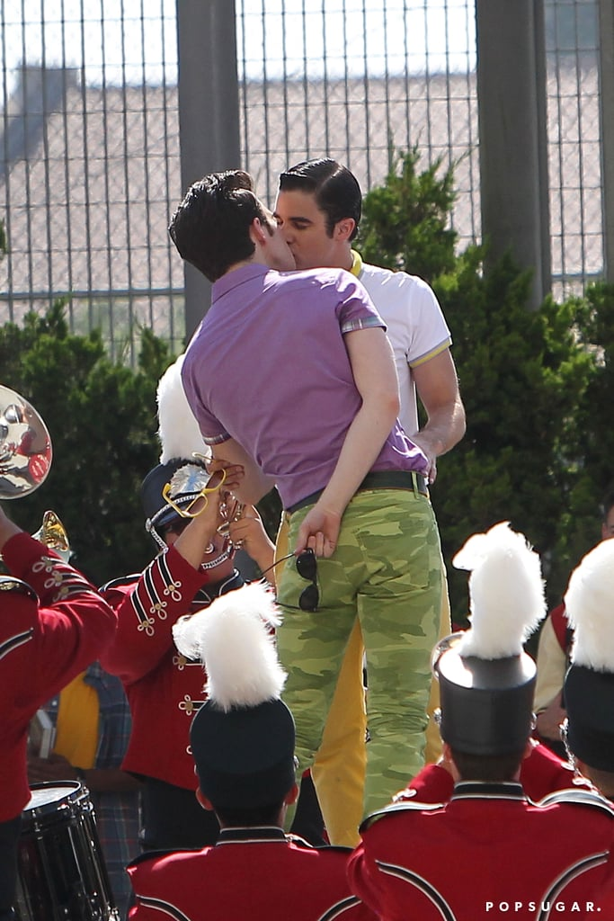 Chris Colfer and Darren Criss smooched on set.