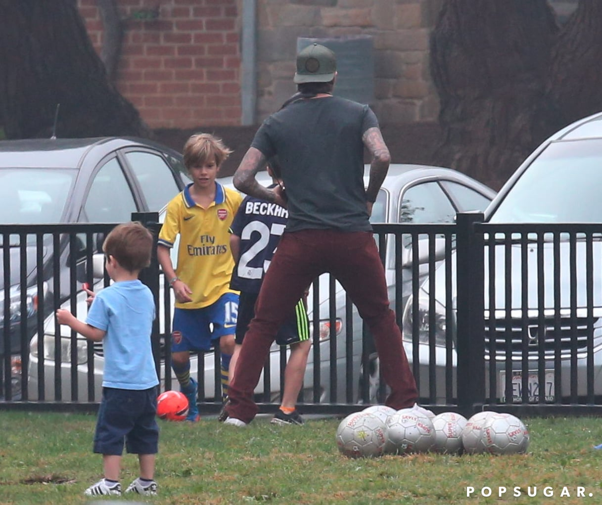 David Beckham hit the field with his sons, playing soccer while his wife, Victoria Beckham, stood on the sidelines.