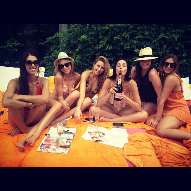 Whitney Port chilled by the pool with friends. Source: Instagram user whitneyeveport