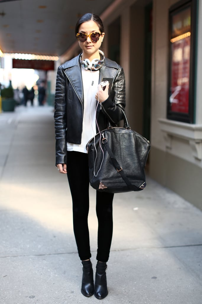 The quintessential Wang bag and a leather jacket have that city-slick vibe.