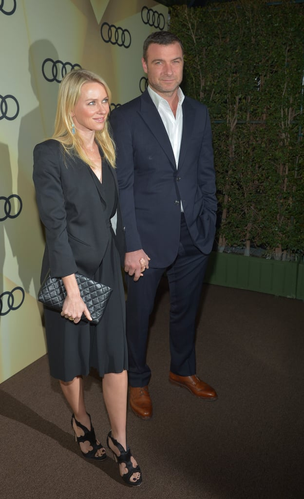Naomi Watts and Liv Schreiber held hands at the Audi Golden Globes party in LA