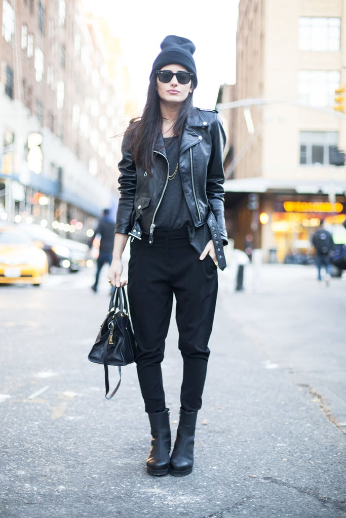 Give your edgy look a Winter upgrade with a cozy beanie and boots.  Source: Le 21ème | Adam Katz Sinding