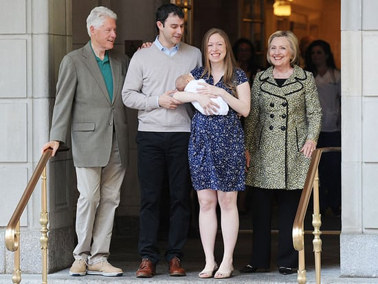 Headed Home! Chelsea Clinton Is Joined by Parents Bill and Hillary as She Leaves the Hospital with Son Aidan