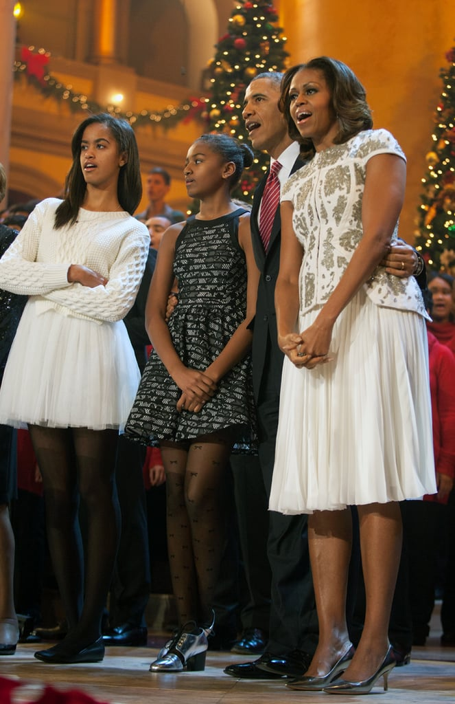 The first lady trotted out this J. Mendel look for the taping of 2013's Christmas in Washington. It's a really special dress — the last time she wore it was at a reception at Buckingham Palace last summer.