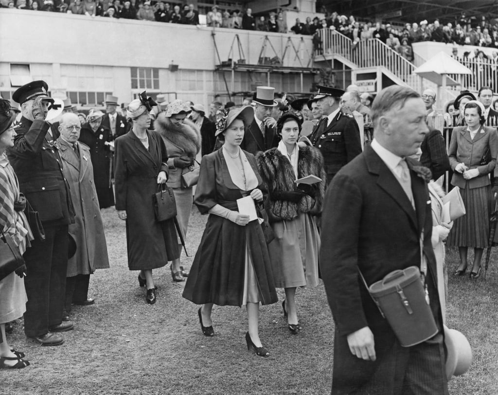 Elizabeth and Margaret Rose attended the Derby in May 1950.