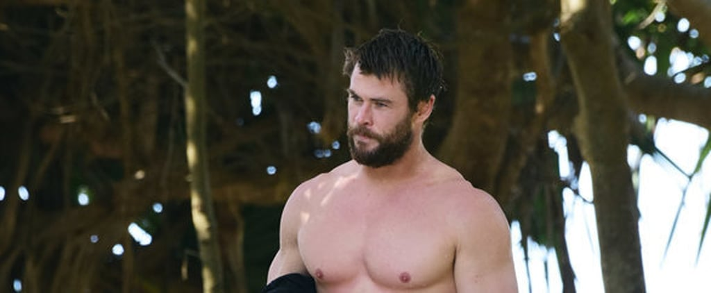 Chris Hemsworth Shows Off Shirtless Superhero Muscles After a Surf Session With His Dad