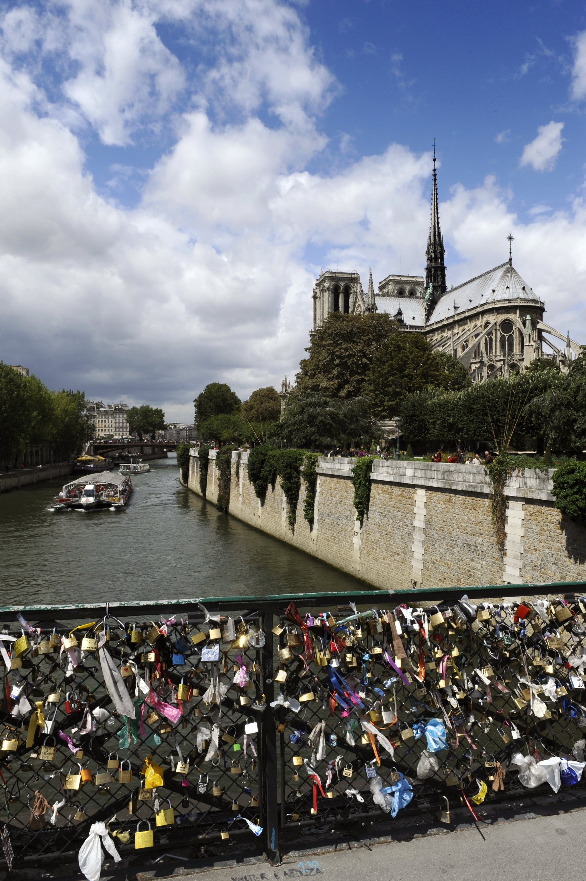 Love locks were affixed to the Pont des Arts bridge in front of the Notre Dame cathedral in Paris.