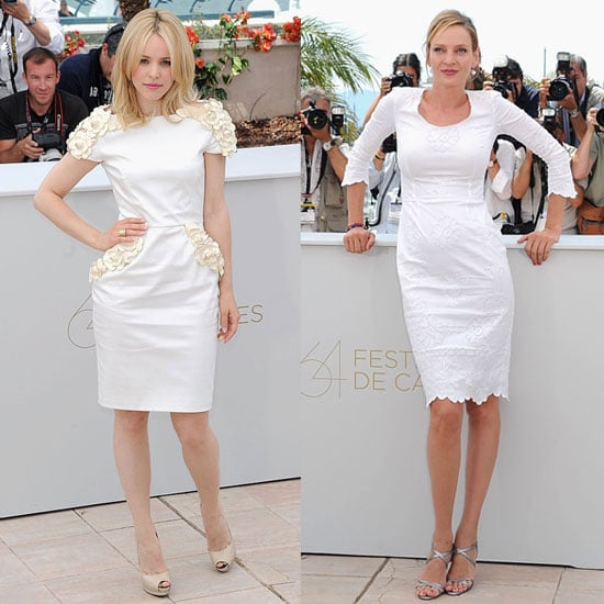 Pictures of Rachel McAdams and Uma Thurman in white dresses at Cannes Film Festival