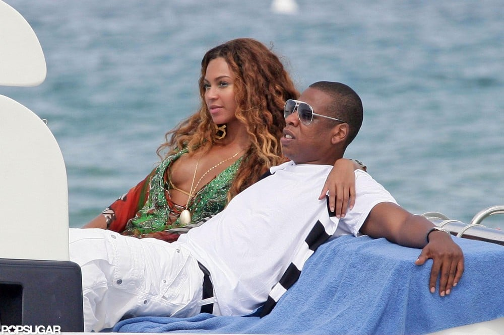 Beyoncé put a loving arm around her man Jay Z while yachting on the French Riviera in June 2007.