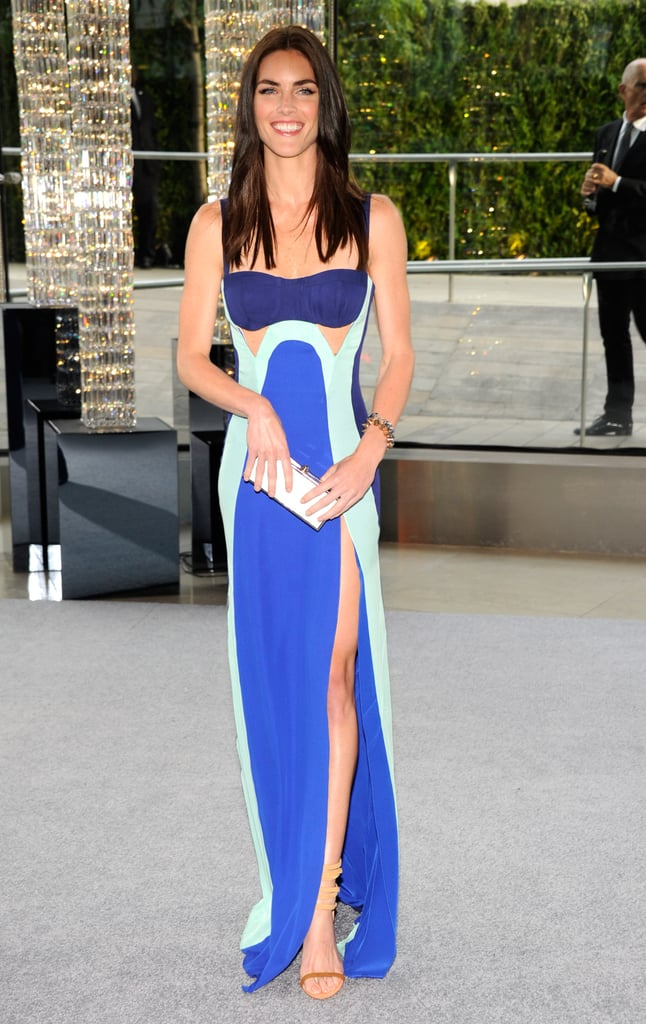 Hilary Rhoda donned a sexy Rebecca Minkoff cutout gown in shades of blue.