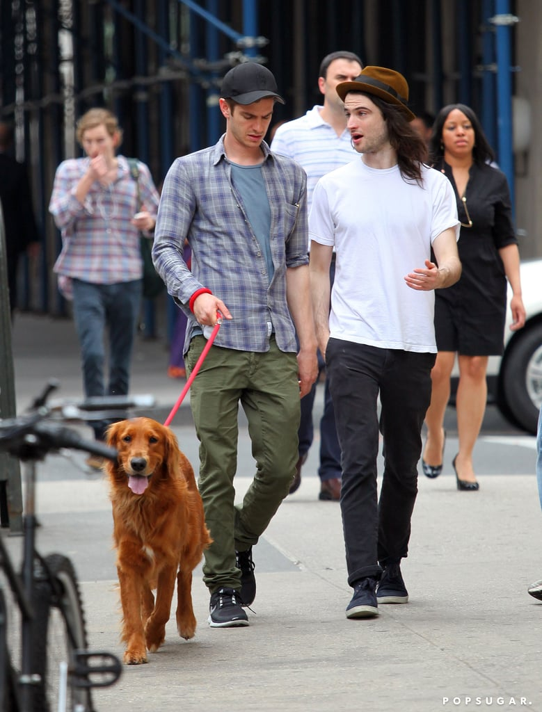 Tom Sturridge and Andrew Garfield took Andrew's dog for a walk.