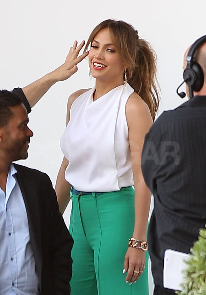 Jennifer Lopez got a final touch up before heading into the studio.