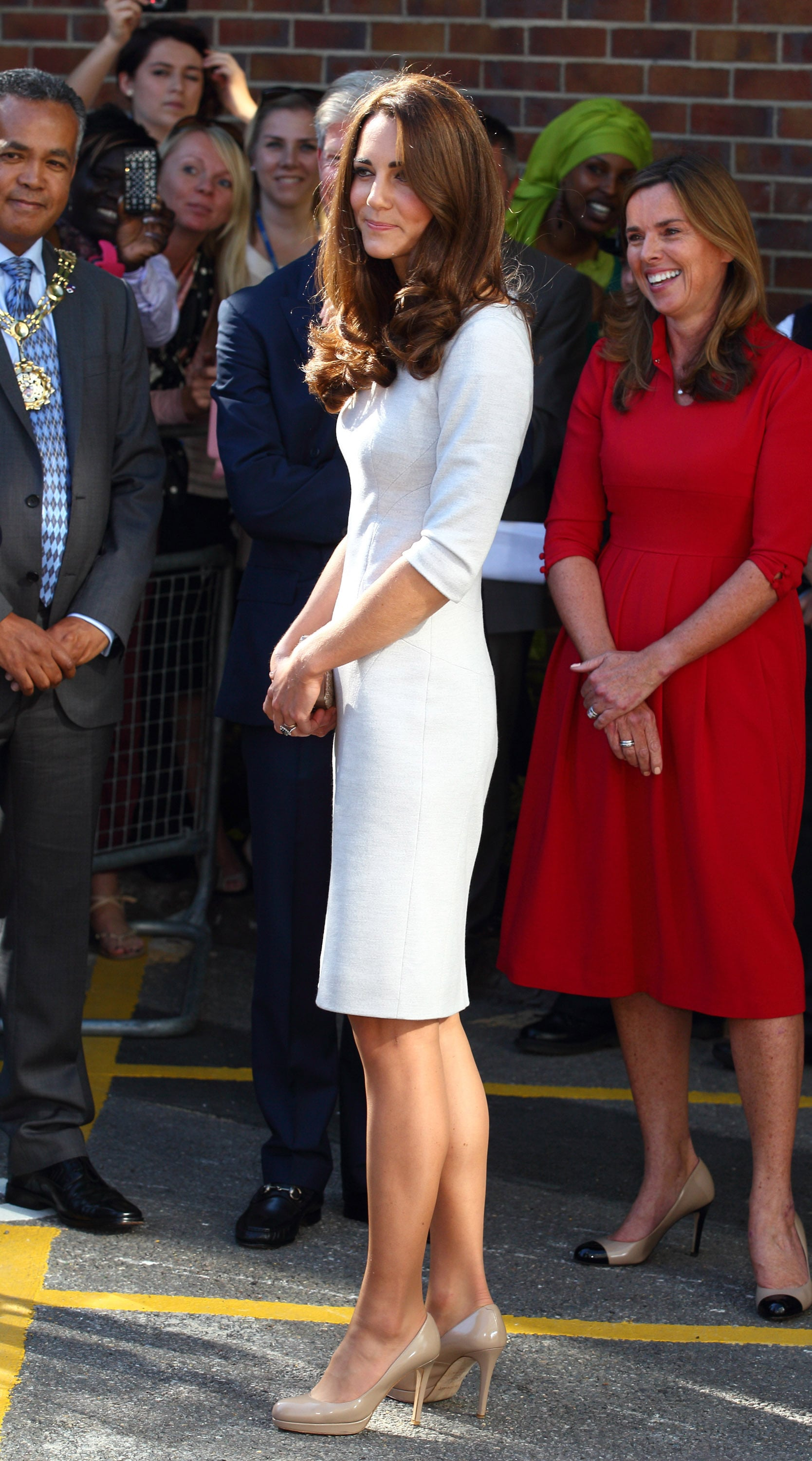 Kate Middleton in a white Amanda Wakeley dress.