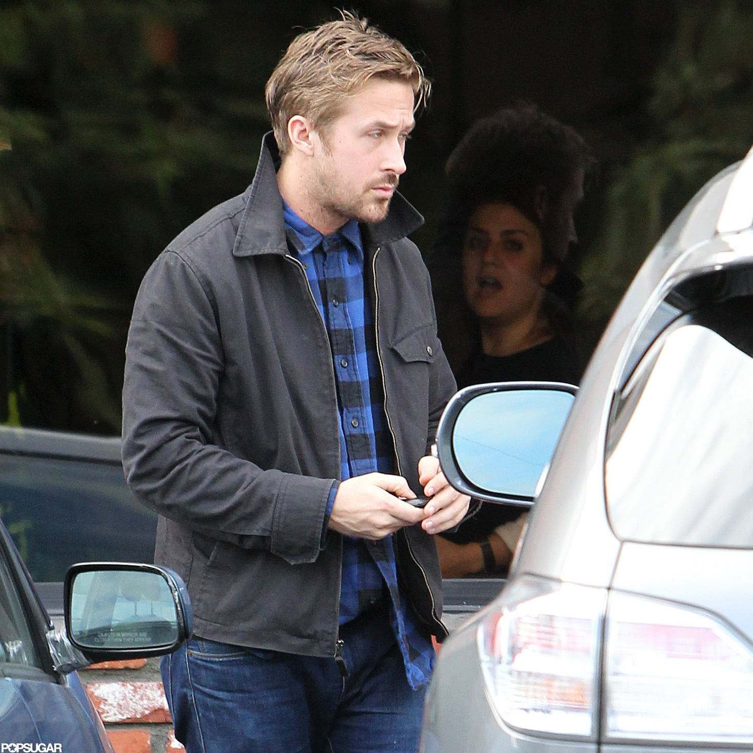 Ryan Gosling wore a checked shirt and jeans out in Los Feliz.
