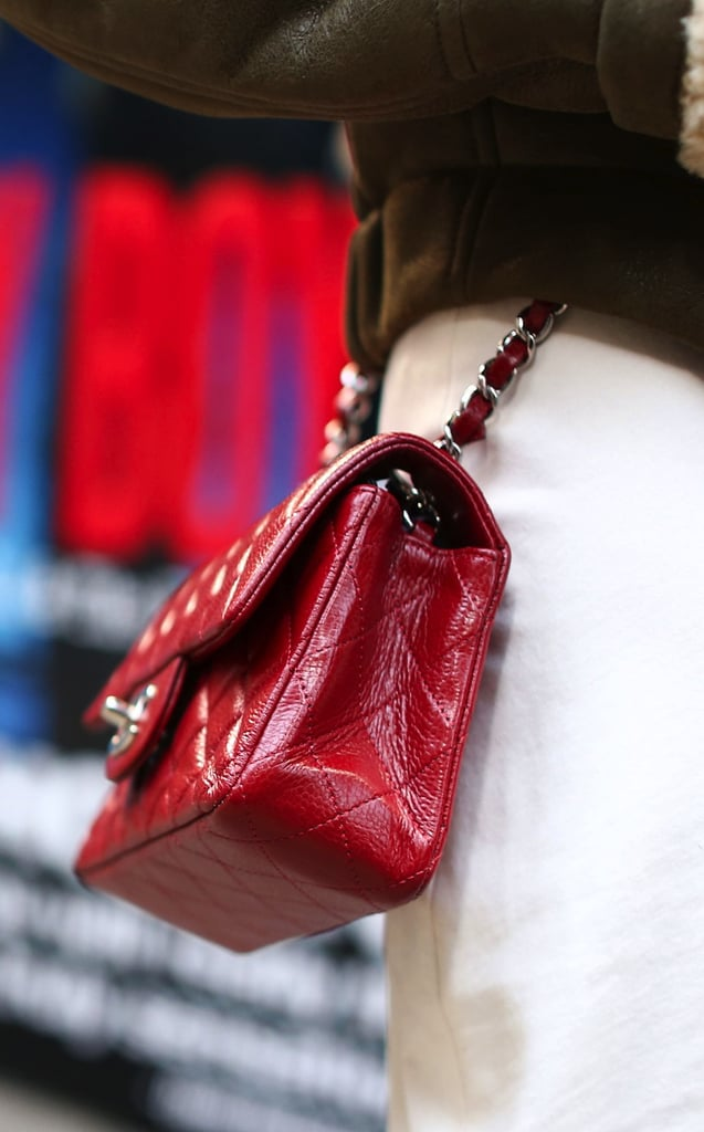 A classically chic Chanel bag in a cherry-red hue.