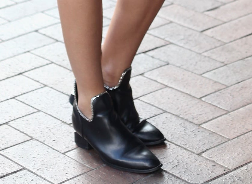Her Alexander Wang ankle boots got a silver sequin-lined boost.