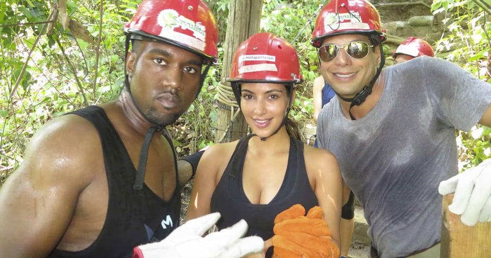 Kim and Kanye went zip-lining with Joe Francis.  Source: Casa Aramara