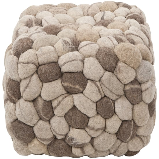 Surya Shag Pouf in Oyster Gray