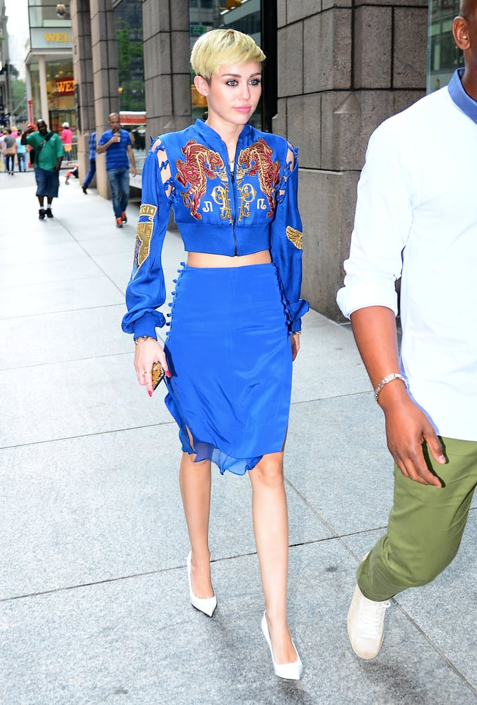 The singer caught our attention in a cobalt Emilio Pucci ensemble, silk pencil skirt, and bomber from the label's Spring 2013 collection.