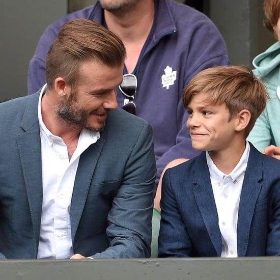 David and Romeo Beckham at Wimbledon 2015