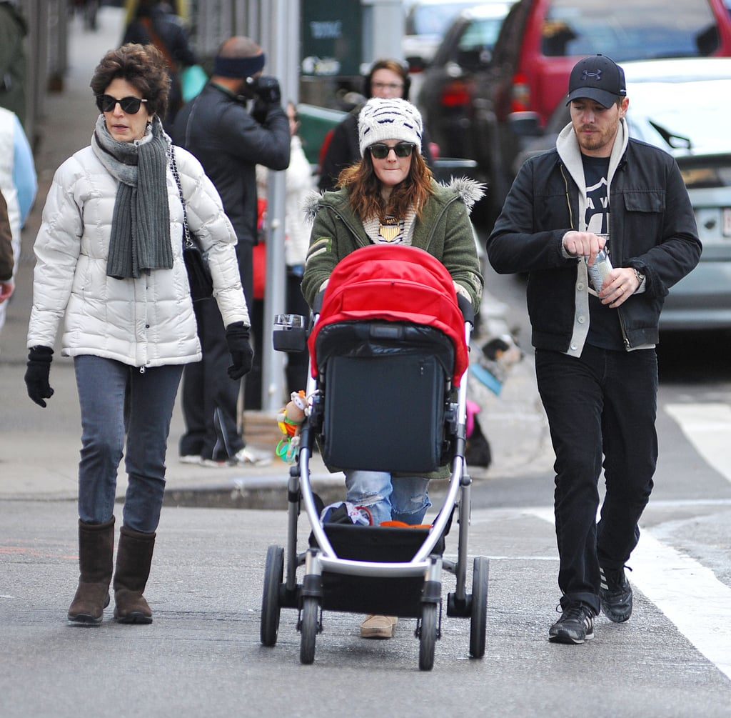 Drew Barrymore and Will Kopelman walked with Olive in NYC.