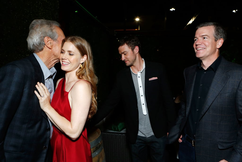 Amy Adams was greeted by Clint Eastwood with costar Justin Timberlake and Robert Lorenz at the Trouble With the Curve premiere in LA.