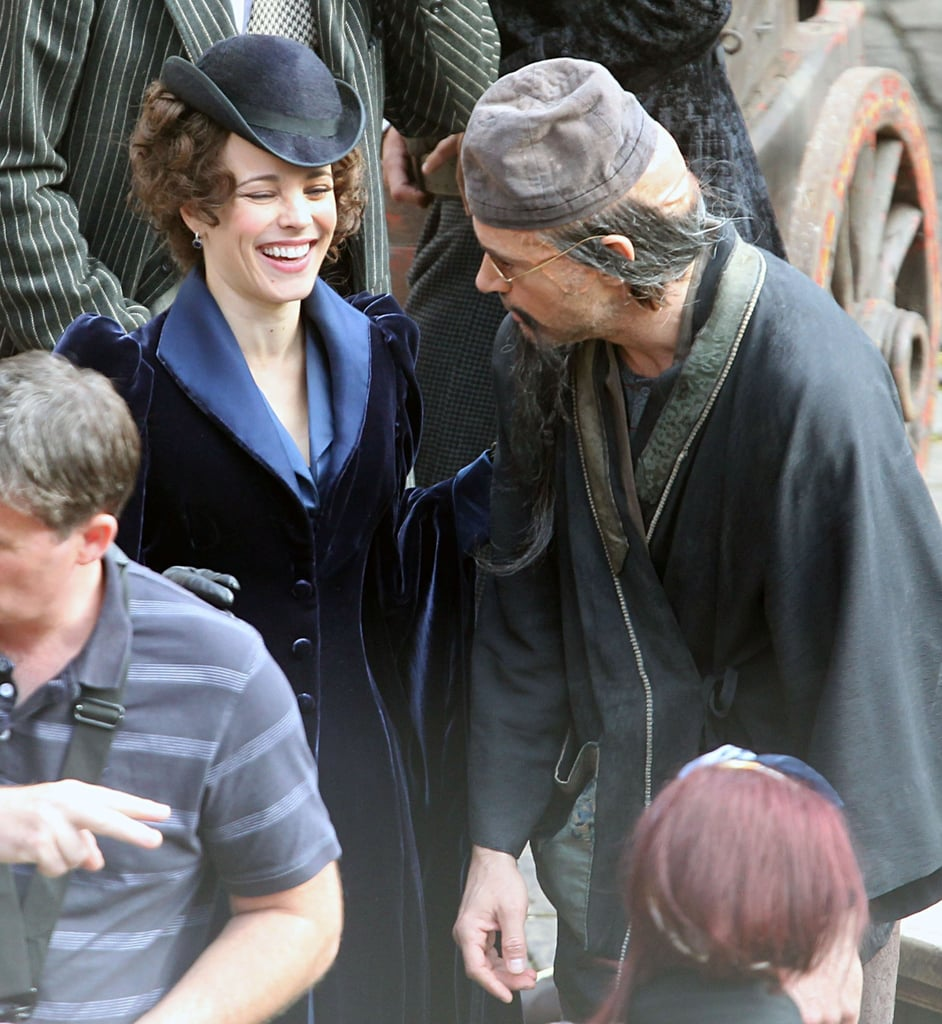 Rachel laughed between takes on the set of Sherlock Holmes: A Game of Shadows in September 2011.