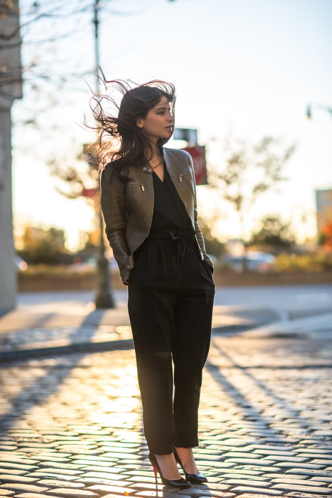 Play the part of city sophisticate in a posh leather jacket and pumps. Source: Le 21ème | Adam Katz Sinding