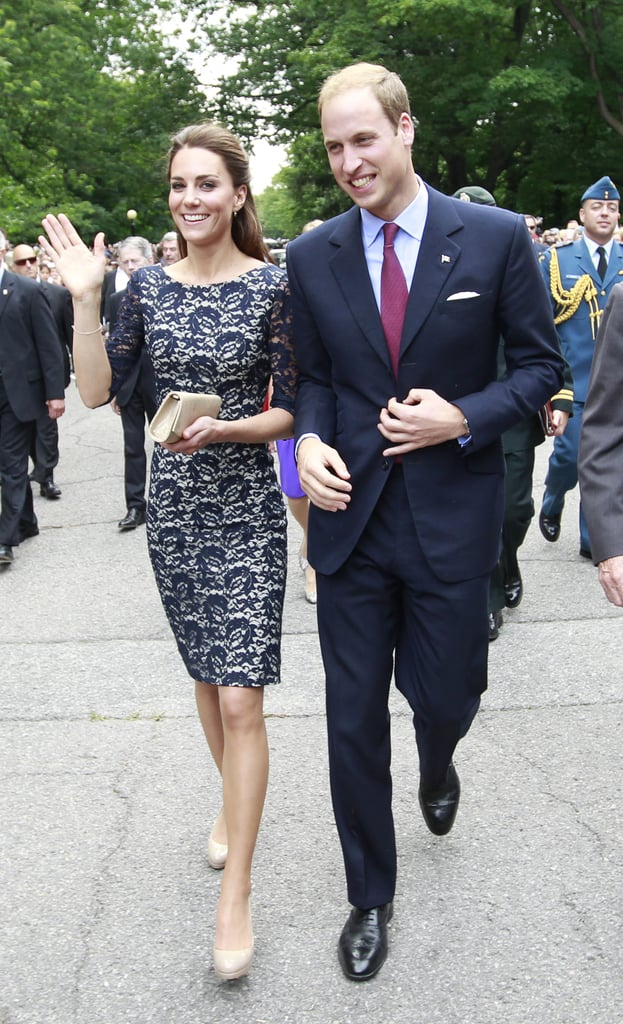 Prince William and Kate Middleton flashed a smile as they made their way into Canada.
