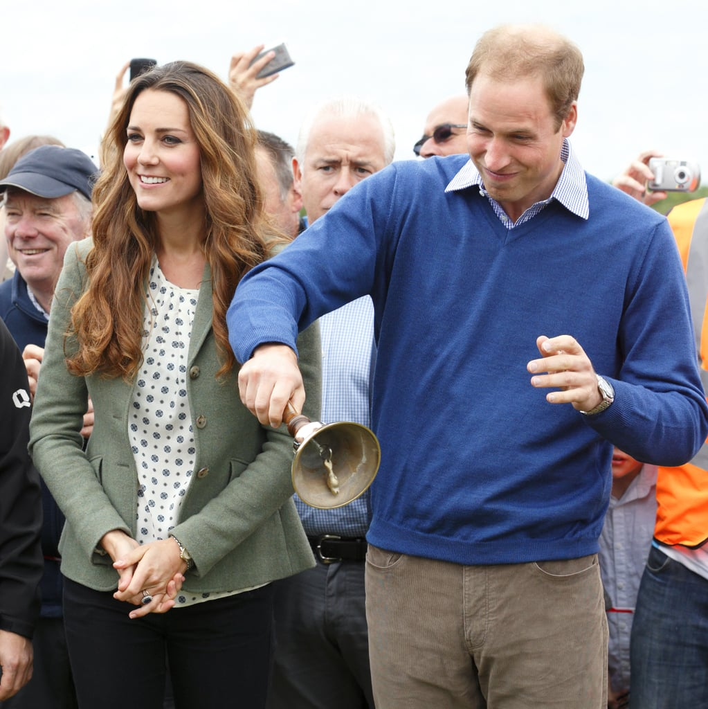 Prince William rang the bell at the Anglesey Costal Ultra Marathon in August 2013, which was Kate's first official appearance after giving birth.